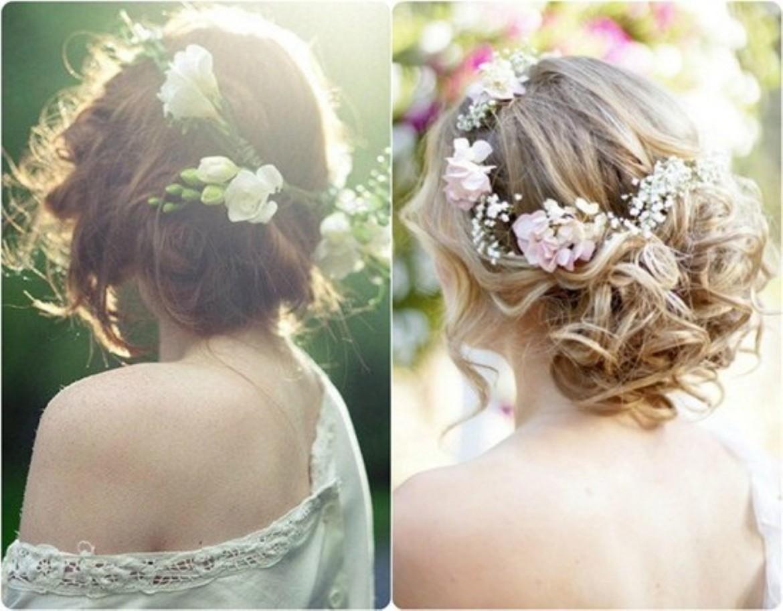 fryzura potargane upiecie z kwiatami zywymi